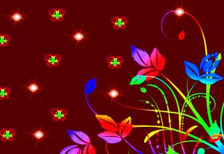 Night Time - fairies flowers, flowers of the night, luminous flowers, garden of light
