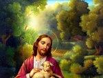 Jesus loving the lost sheep