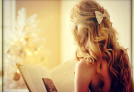 girl - book, blonde, curls, morning