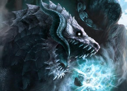 Dragon of the blue fire - fire, dragon, horn, blue