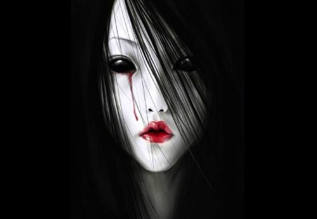 Soulless Eyes - blood, black eyes, pale dark hair, red lips