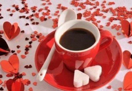 ♥ coffee with heart ♥ - still life, cup, sugar, coffee