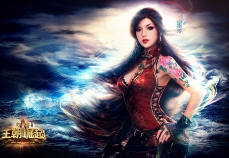 Beauty Girl - ocean, jewelry, sexy, ring, ruoxing zhang, earrings, night, beauty girl, brown hair, cloud, hieroglyph, long hair, breasts, hot, water, lips, necklace, braid, cool, tattoo, fantasy, belt, nail polish, gloves, big breasts, fingerless gloves, wind