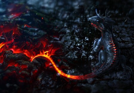 Little Dragon - wonderful, great, skyphoenixx1, abstract, little dragon, amazing, creature, tail, awesome, mountain, dragon, outstanding, rocks, fire, adorable, stunning, lava, nice, fantastic, marvellous, wallpaper, ashes, animal, beautiful, newborn, beast, vulcano, stones, pretty, super, picture, heat