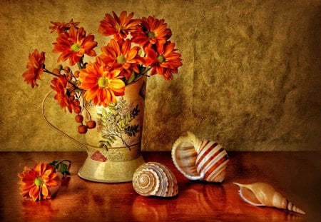 Still life - fresh, harmony, red, orange, flowers, shells, nice, wall, petals, vase, freshness, table, beautiful, lovely, daisies, reflections, pretty, still life, delicate