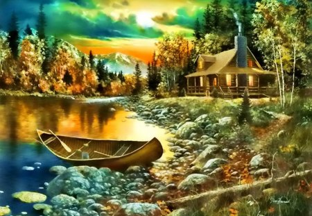 Boat on lakeshore - colorful, sun, pretty, beautiful, summer, trees, riverbank, tranquil, lake, bungalow, peaceful, stream, glow, calm, house, river, cottage, cabin, waters, reflection, countryside, lovely, creek, forest, boat, stones, lakeshore, shore, village, fishing, calmness, clouds, nice, mountain, serenity, sky, painting