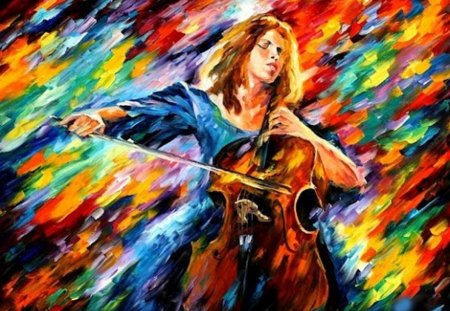 Colors of Music for Rosa - cello, woman, colors, music, love