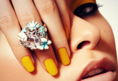 Nail Polish - beauty, ring, nail polish, yellow