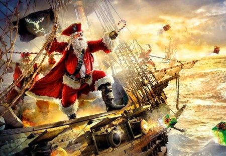 SANTA the PIRATE - pirates, a frigate, santa claus