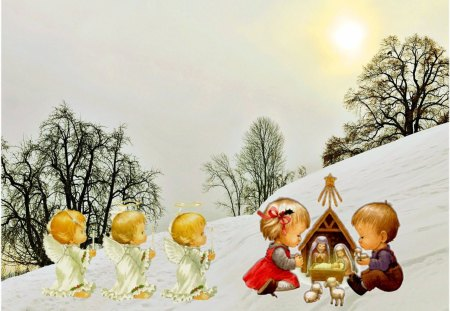 Christmas card - snow, winter, christmas, child, manger, angel