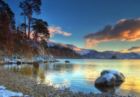 Winter Landscape - sunset, winter, water, beach, landscape