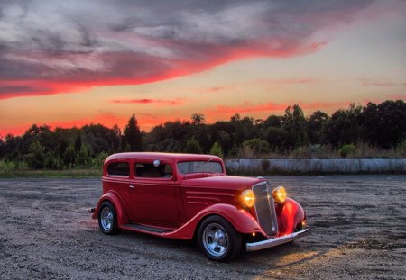 1934 Chevy Hotrod - chevy, sedan, hot, car, old, trees, custom, rod, 34, classic, hotrod, vintage, lights, antique, 1934, chevrolet