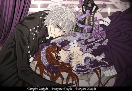 Vampire Knight - red, white hair, teens, silver, anime, vampire, friends, female, male, curtains, vampire knight, red hair, purple, jacket, zero, teen, silver hair, white, lying down, knight
