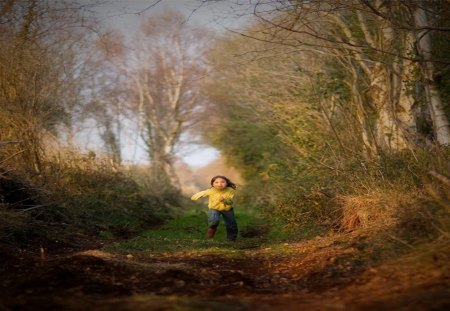 Fall and child - child, girl, tree, weather, fall, sun