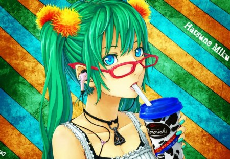 Too Bright!!  My eyes... my eyes - red, pomoms, ponytales, drinkg, soda, glasses, white shirt, yellow, mp3, green, anime, drink, slurping, blue, mp3 player, stripes, necklace, pigtails, pop, white