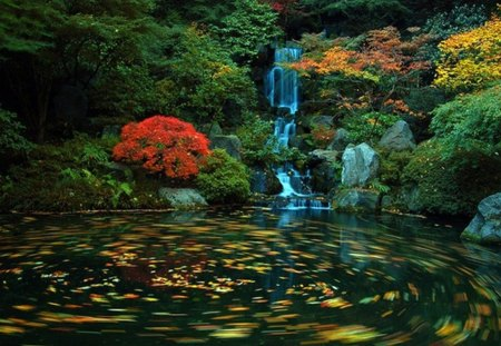 Japanese Garden - autumn, lake, shrubs, waterfall, leaves