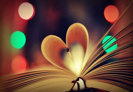 Heart Book - heart, bokeh, photography, book