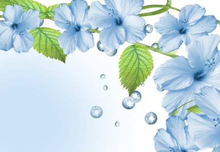 Blue Flowers - cg, art, blue, flower