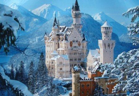 Snow Castle - fantasy, castle, snow, white
