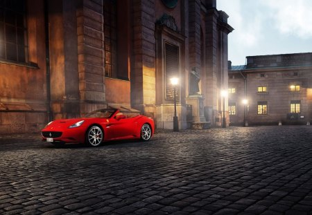 red ferrari cabrio - convertible, city, dusk, cobble stones, car
