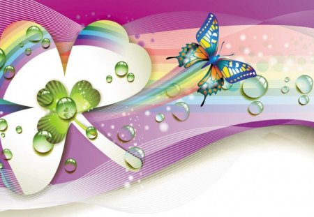 Butterfly Magic - butterfly, blue, white, shamrock, pink, abstract, purple, green, swirl