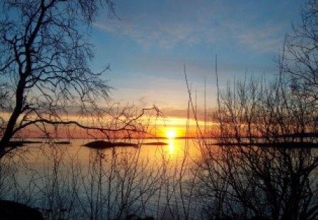 POR DO SOL - arbusto, sol, natureza, arvores, lago