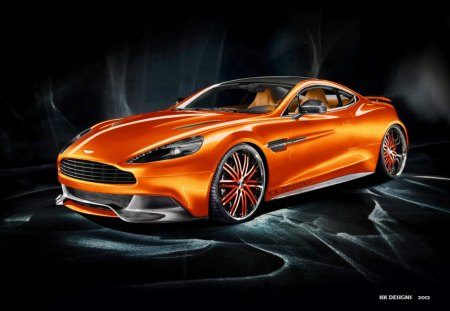 Aston Martin Vanquish - desktop wallpaper, aston martin, orange, 2012, fast car, 2013, 22inch alloys, aston martin tuning, car wallpaper, car, aston martin am 310 vanquish 2013, orange supercar, photo shoot, rims, virtual tuning, aston martin virtual tuning, supercar, orange aston martin, concept, kk designs, london, desktop nexus
