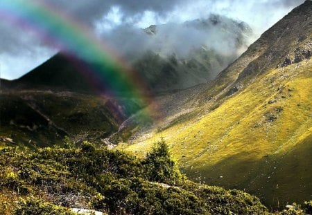 Rainbow in the Mountains - sunshine, rainbow, mountains, clouds