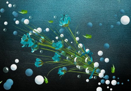 Aqua Flower on Aqua - flowers, white, colors, abstract, nature, stem, aqua, bubbles, green