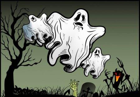 HALLOWEEN NIGHT - ghosts, three, scarey, hand, little, devil