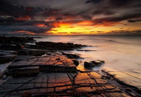 super sunset - sunset, coast, clouds, sea, rocks