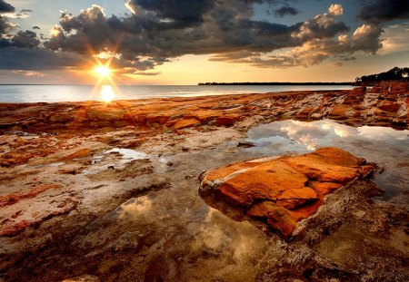 BRAND NEW DAY - rocks, sunrise, sea, landscape