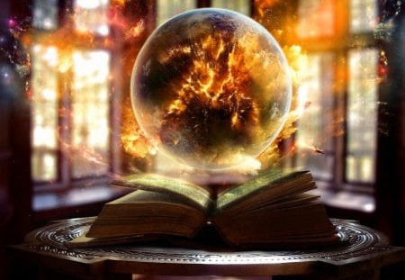 Magic light - lovely, science, book, pretty, fire, golden, windows, beautiful, table, fantasy, nice, pages, fiery, orange, rays, light, magical