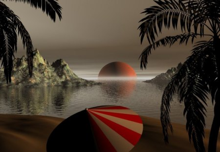 Fantasy Place - fantasy, abstract, sea, beach, 3d