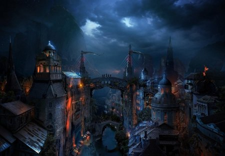 Fantasy place - art, city, abstract, digital, fantasy