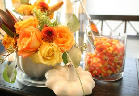 Floral FALL♥ - autumn, flowers, roses, fall, nature, enchanting, beautiful, orange, decor, floral, arrangement