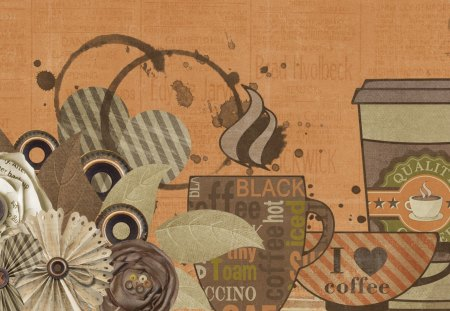 Coffee Time - steam, hearts, flowers, java, mocha, seattle, coffee break, collage, spill, coffee, splash, browns, cups, leaves, joe