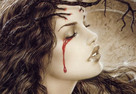 Vampire Sorrow in Sepia - tree, branch, cry, red, branches, woman, paranormal, sorrow, horror, blood, female, lady, youth, beautifyl, maiden, young, pretty, sad, vamire, crying