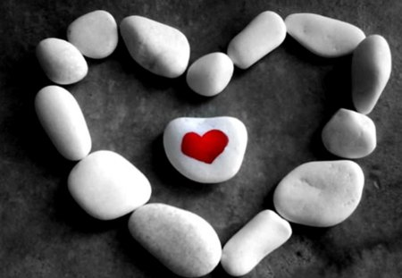 ♥ - heart, love, pebbles, red, white