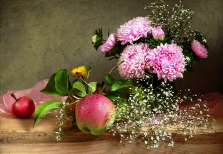 Freshness of autumn - pink, flowers, autumn, still life, apples, red, fruit, fresh, ripe