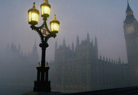 London in fog - london, city, fog, lamp, lamp post, street