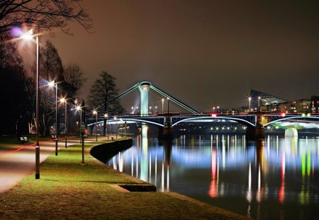 Night city - grass, pier, lake, walk, evening, lights, park, night, twilight, sky, bridge, water, nice, summer, m irrored, reflection, beautiful, lovely, river, city, dusk, pretty, bench, shore