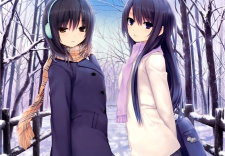 Winter - girls, headphones, outdoors, school bag, cute, walking, winter, scarves, outside, female, black hair, adorable, cat, cold, coats, sisters, trees, snow, skirts