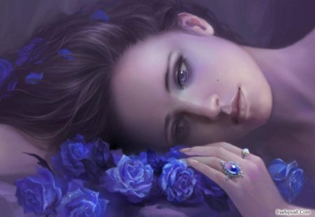 One purple dreamer♥ - flowers, dreamer, roses, young girl, nature, forver, bouquet, purple, dream, love, stare