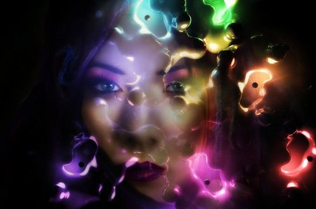 A sad but colorful face - abstractm art, woman, colors, face, girl