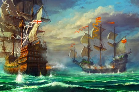 BATTLE SHIPS - art, ocean, battle, ships, sailing, clouds