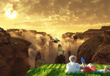 Canyon - heaven, grass, canyon, brushes, sun, bird, fantasy, flares, clouds, green, random, dragon