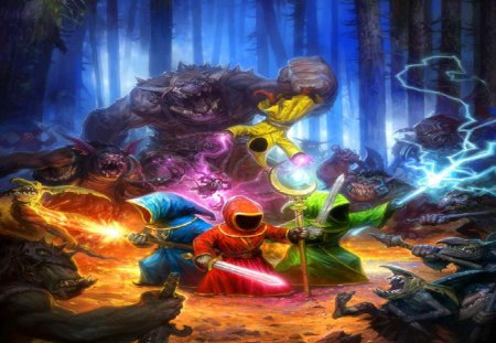 Wizards vs Goblins - fire, forest, trolls, lighting, wizards, sword, moon staff, goblins