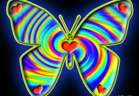 ♥      Ƹ̴Ӂ̴Ʒ~Butterfly for Flutterby~Ƹ̴Ӂ̴Ʒ     ♥ - rainbow colors, abstract, mind teaser, butterfly, rainbow butterfly
