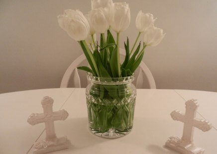 Baptism LIGHT♥ - simple, love, cross, flowers, pure, white, tulips, light, baptism, green, beautiful, forever, fresh, nature